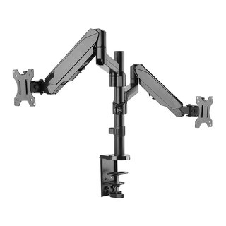 Height adjustable gas spring dual monitor arm, ECO-C24