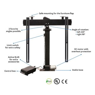 TV furniture lift electric for monitors up to 50kg rotatable height adjustable Xantron PREMIUM-K2-RotoLift